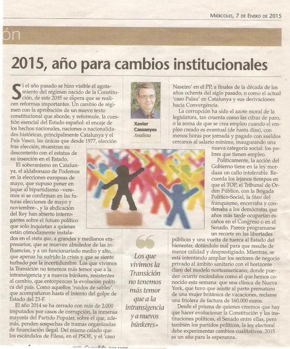 2015, año para cambios institucionales.
