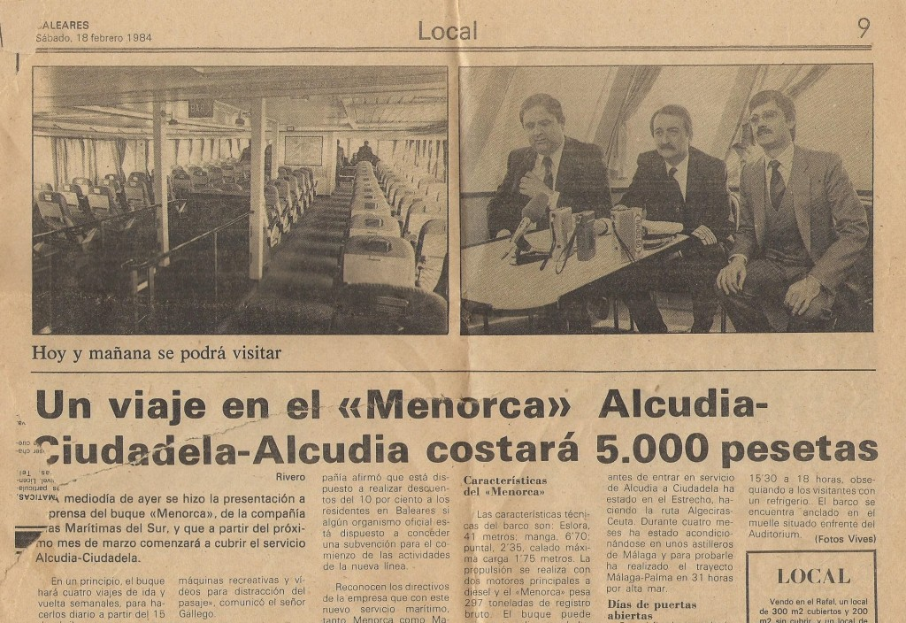 La imagen tiene un atributo ALT vacío; su nombre de archivo es maritimas-del-sur-ferry-menorca-presentacio-febrer-1984.jpg